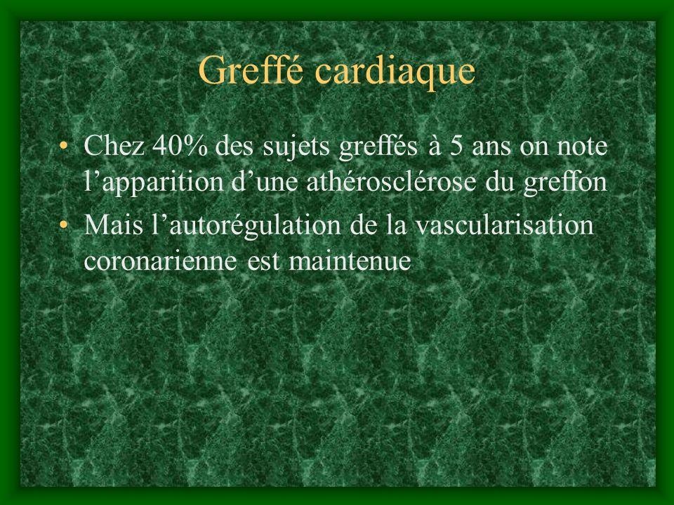 Greffé cardiaque Chez 40% des sujets greffés à 5 ans on note l'apparition d'une athérosclérose du greffon.