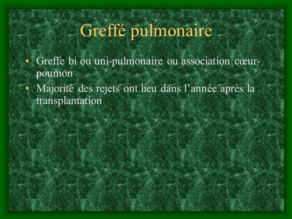 Greffé pulmonaire Greffe bi ou uni-pulmonaire ou association cœur- poumon. Majorité des rejets ont lieu dans l'année après la transplantation.