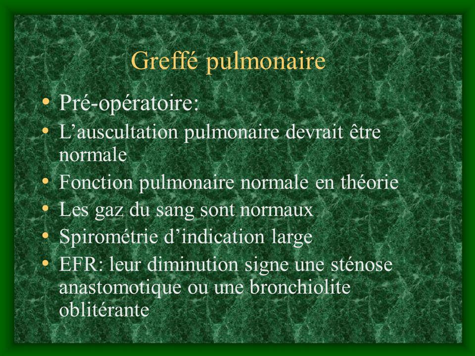 Greffé pulmonaire Pré-opératoire: