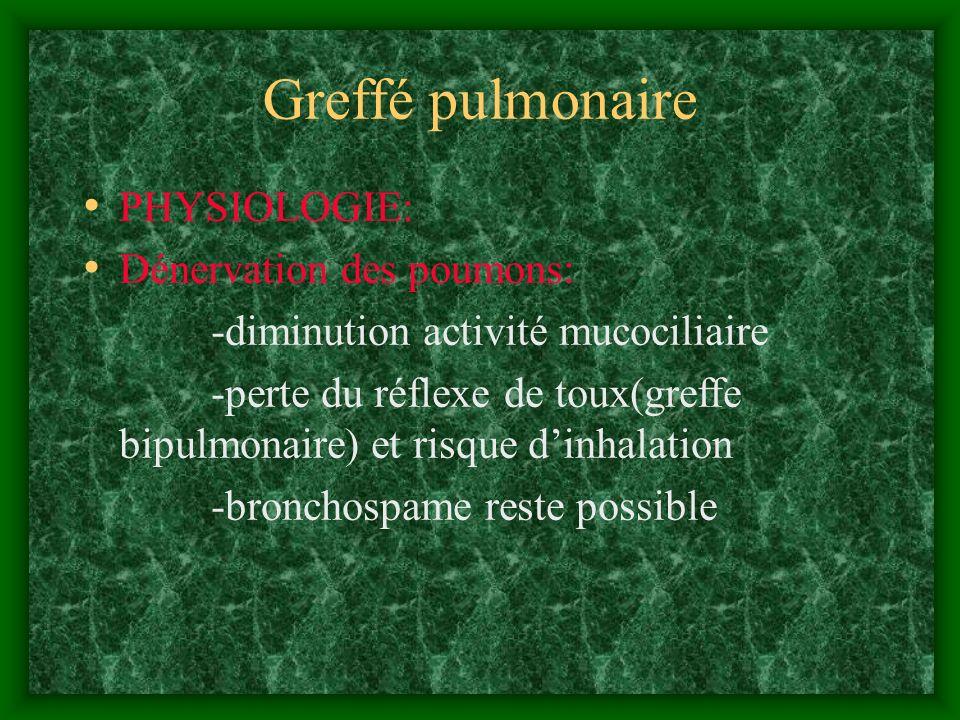 Greffé pulmonaire PHYSIOLOGIE: Dénervation des poumons: