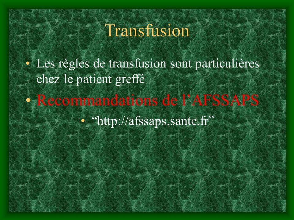 Transfusion Recommandations de l'AFSSAPS