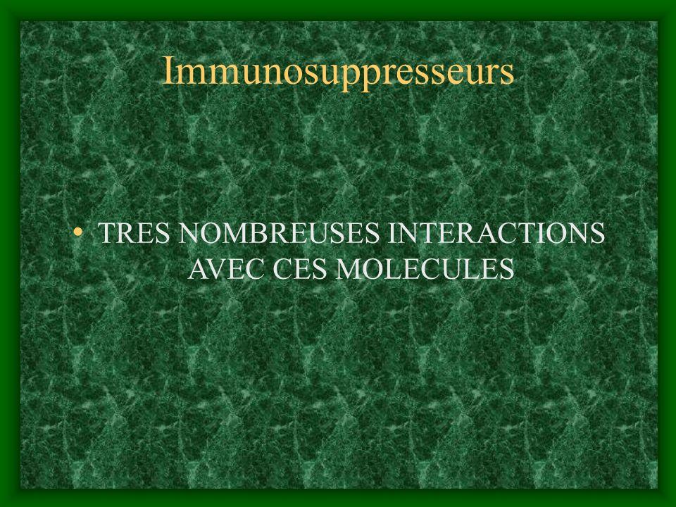 TRES NOMBREUSES INTERACTIONS AVEC CES MOLECULES