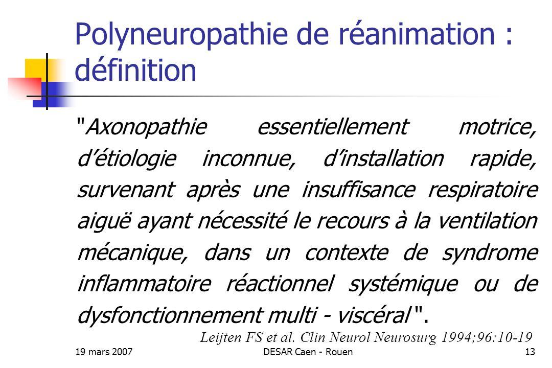 Polyneuropathie de réanimation : définition
