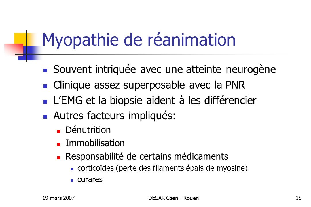 Myopathie de réanimation