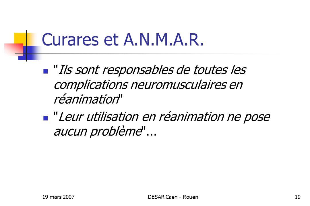 Curares et A.N.M.A.R. Ils sont responsables de toutes les complications neuromusculaires en réanimation