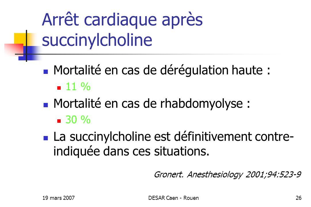 Arrêt cardiaque après succinylcholine