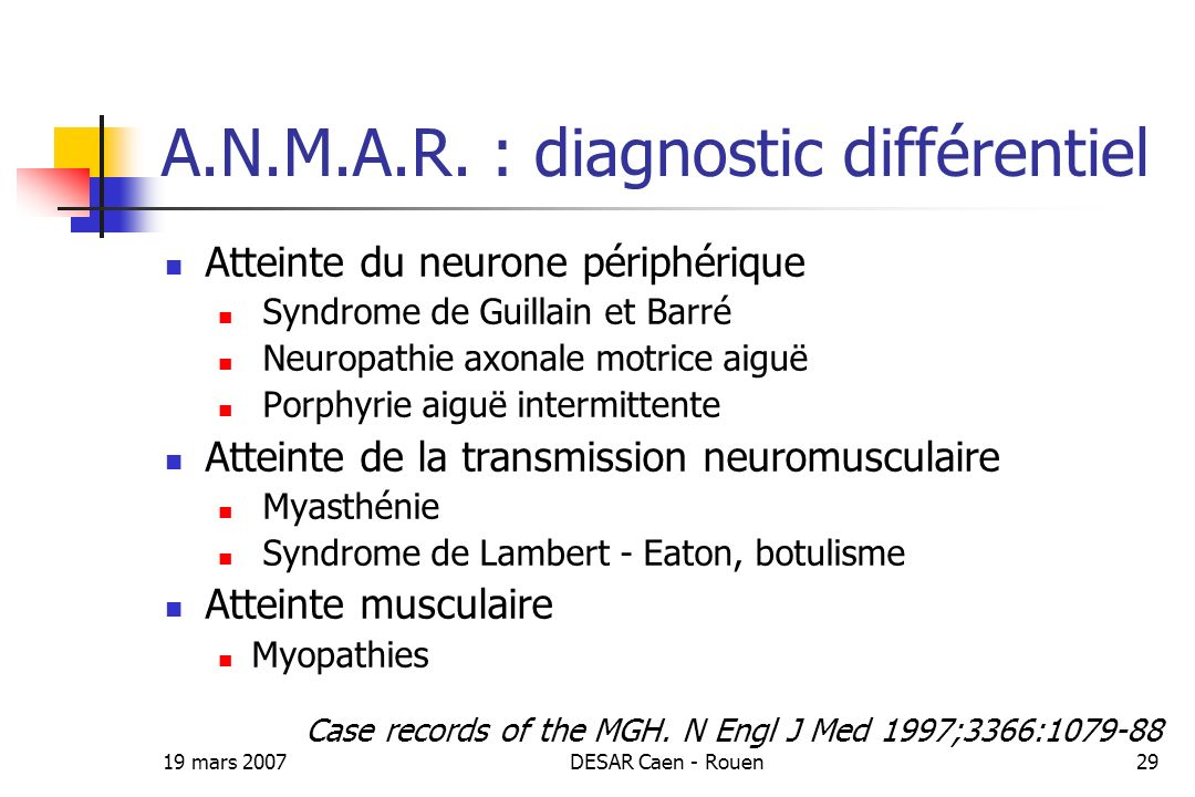 A.N.M.A.R. : diagnostic différentiel