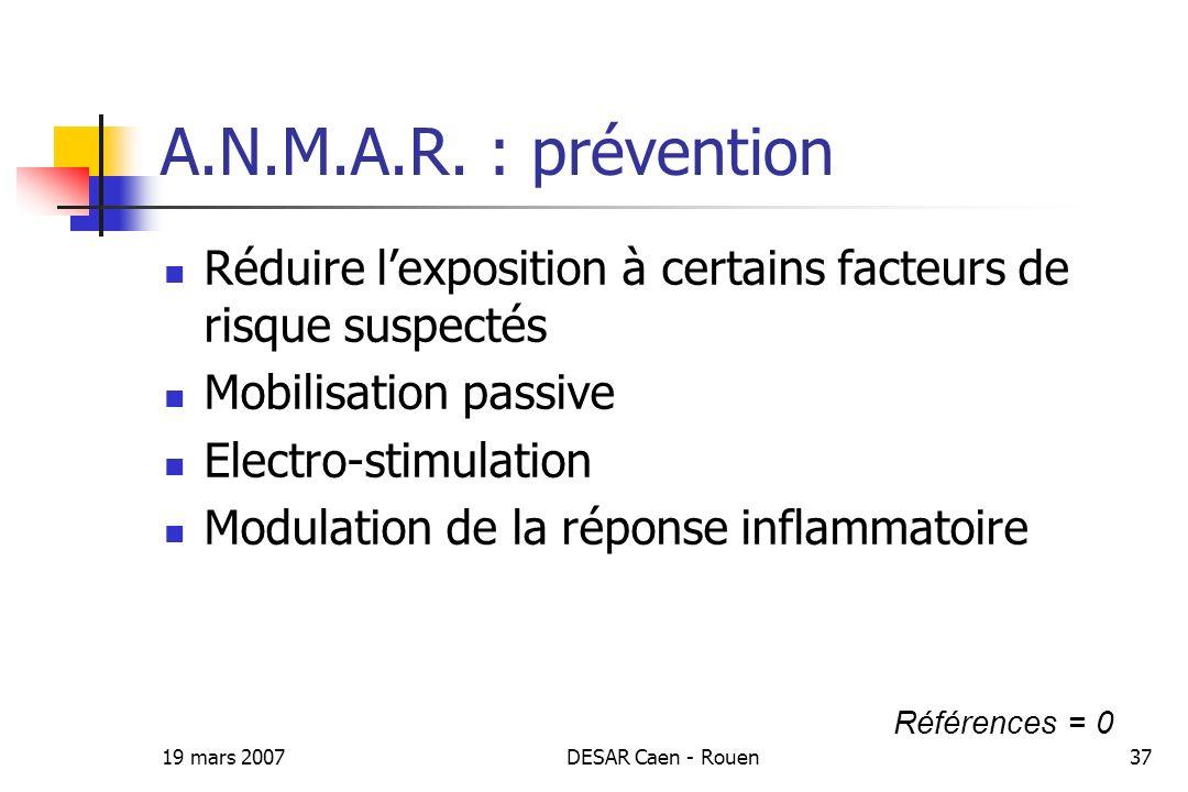 A.N.M.A.R. : prévention Réduire l'exposition à certains facteurs de risque suspectés. Mobilisation passive.