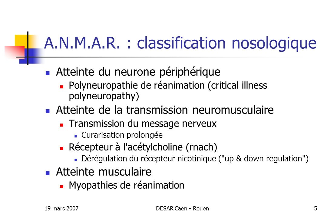 A.N.M.A.R. : classification nosologique