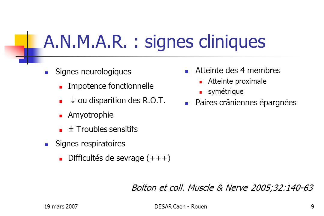 A.N.M.A.R. : signes cliniques