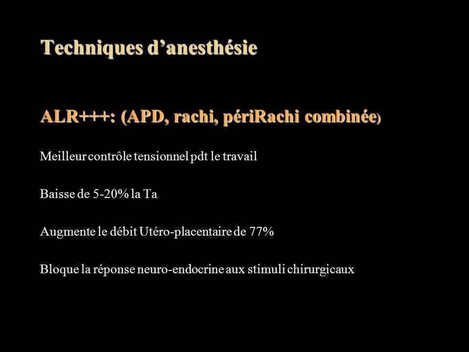 Techniques d'anesthésie