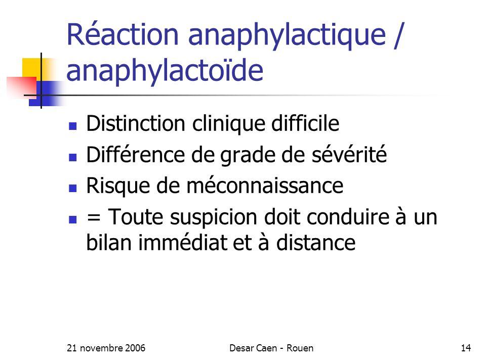 Réaction anaphylactique / anaphylactoïde