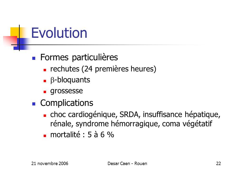 Evolution Formes particulières Complications