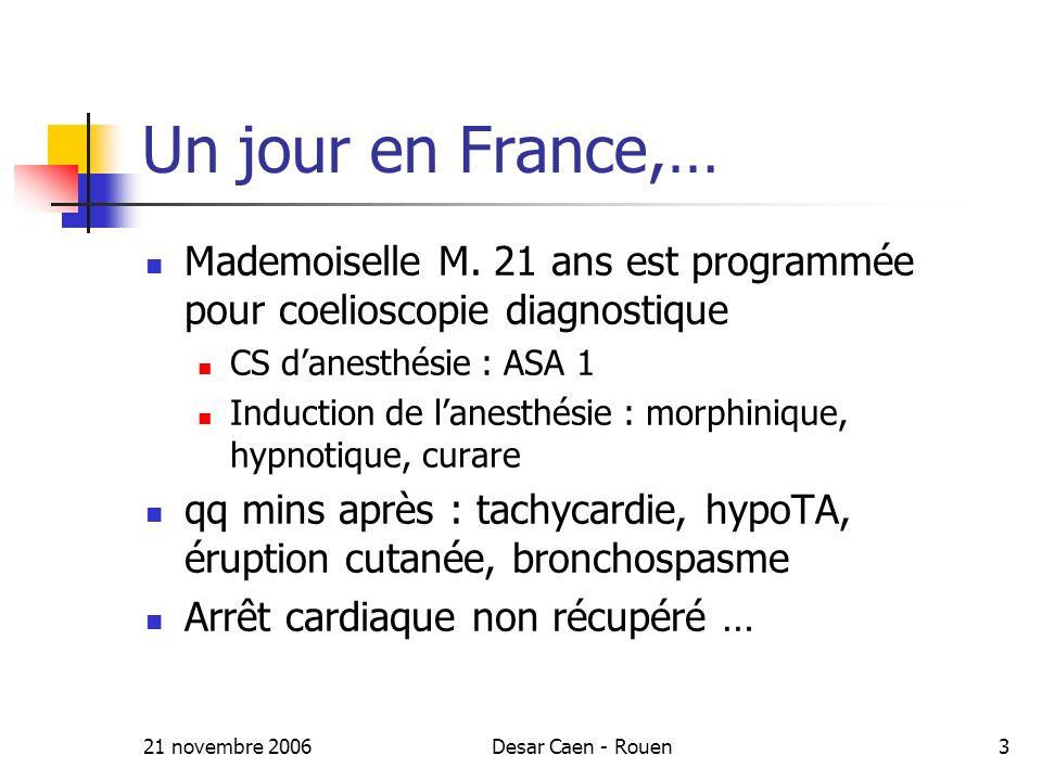 Un jour en France,… Mademoiselle M. 21 ans est programmée pour coelioscopie diagnostique. CS d'anesthésie : ASA 1.