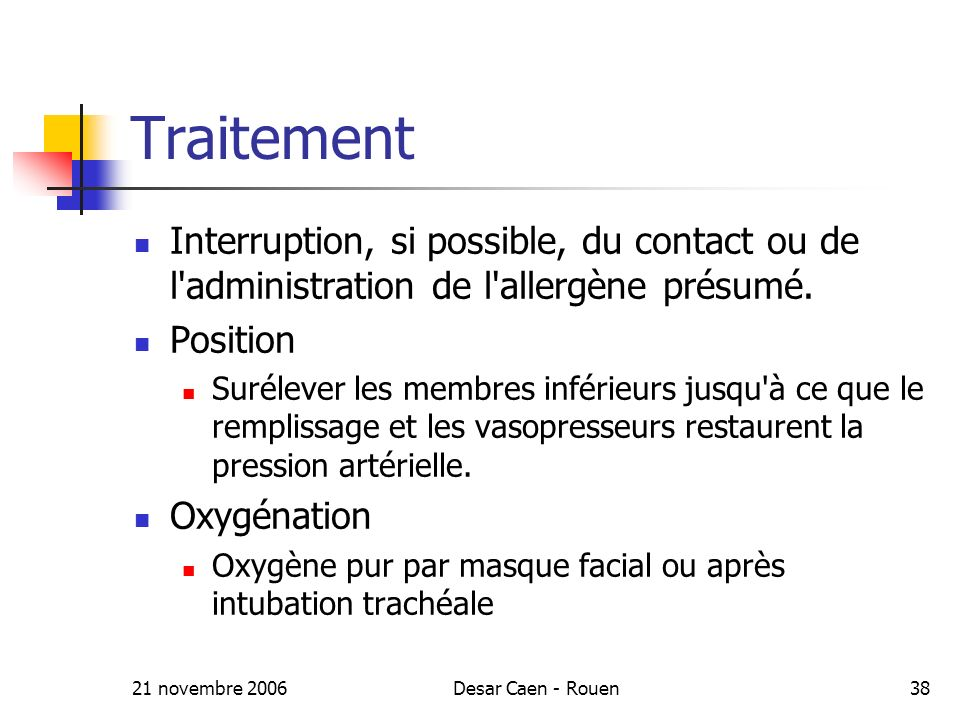 Traitement Interruption, si possible, du contact ou de l administration de l allergène présumé. Position.