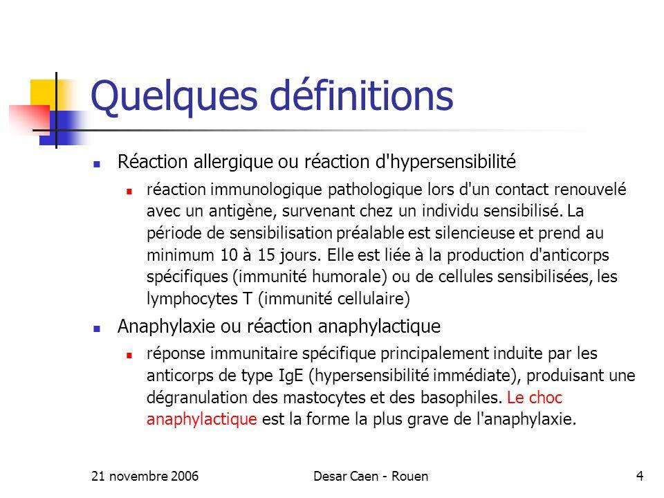 Quelques définitions Réaction allergique ou réaction d hypersensibilité.