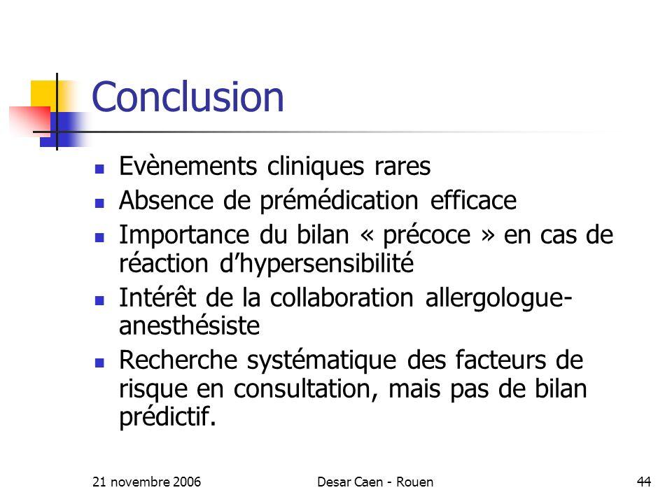 Conclusion Evènements cliniques rares