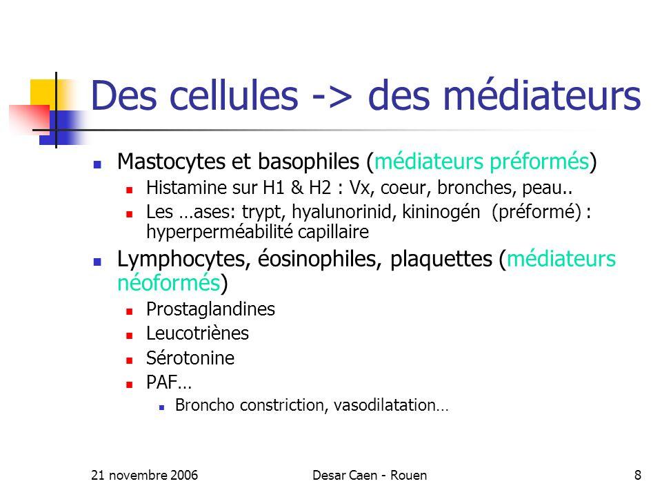 Des cellules -> des médiateurs
