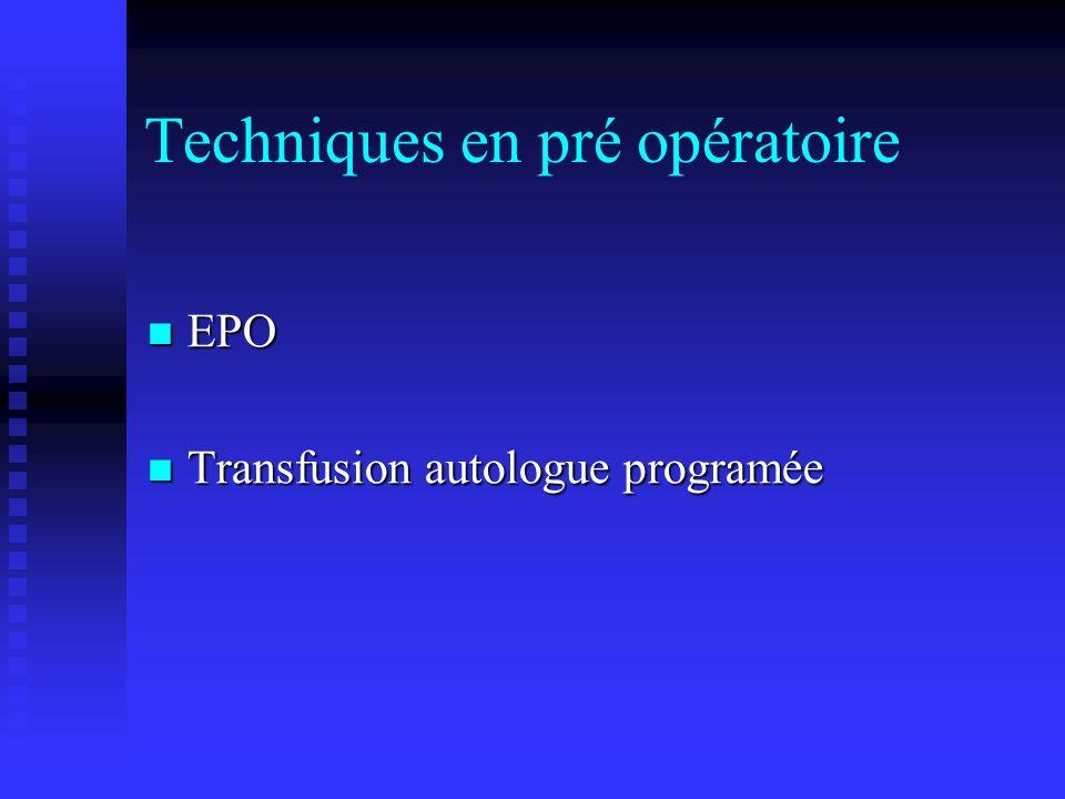 Techniques en pré opératoire
