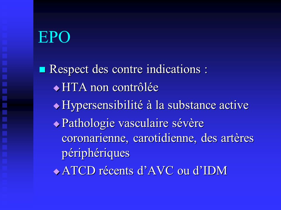 EPO Respect des contre indications : HTA non contrôlée
