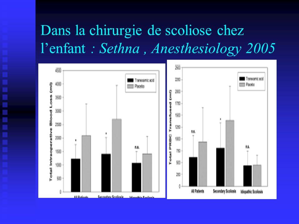 Dans la chirurgie de scoliose chez l'enfant : Sethna , Anesthesiology 2005