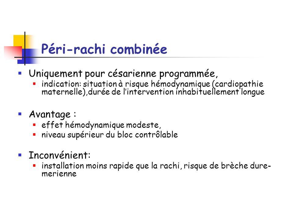 Péri-rachi combinée Uniquement pour césarienne programmée, Avantage :
