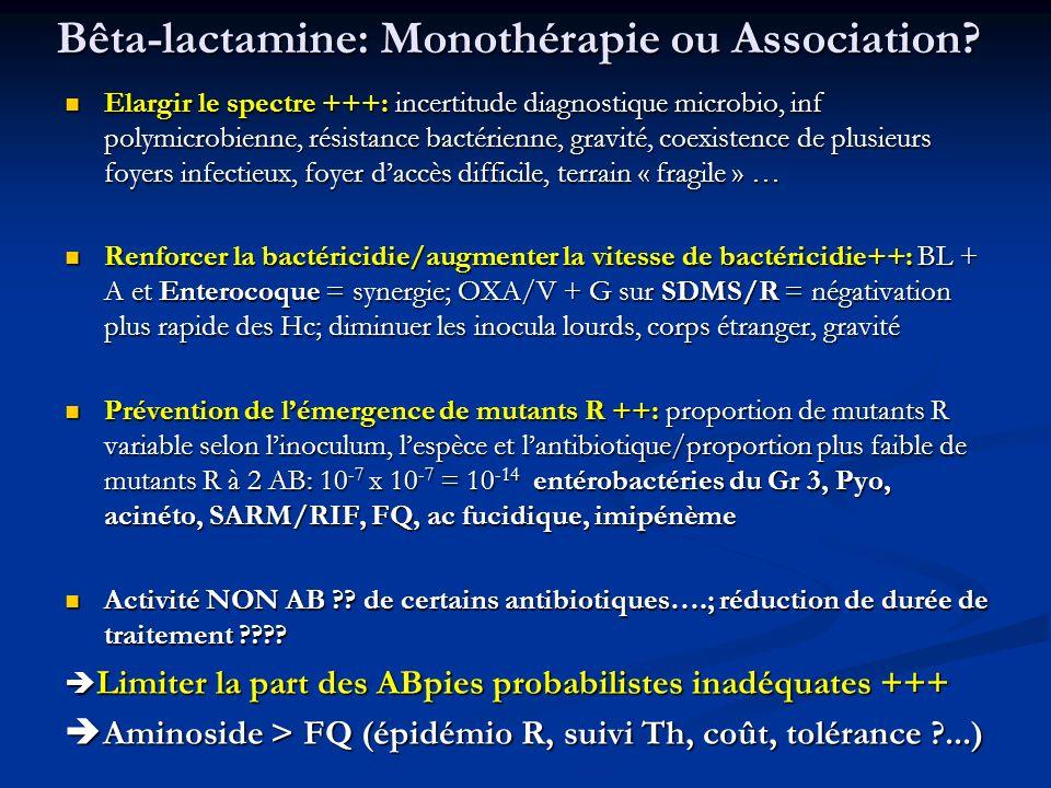 Bêta-lactamine: Monothérapie ou Association