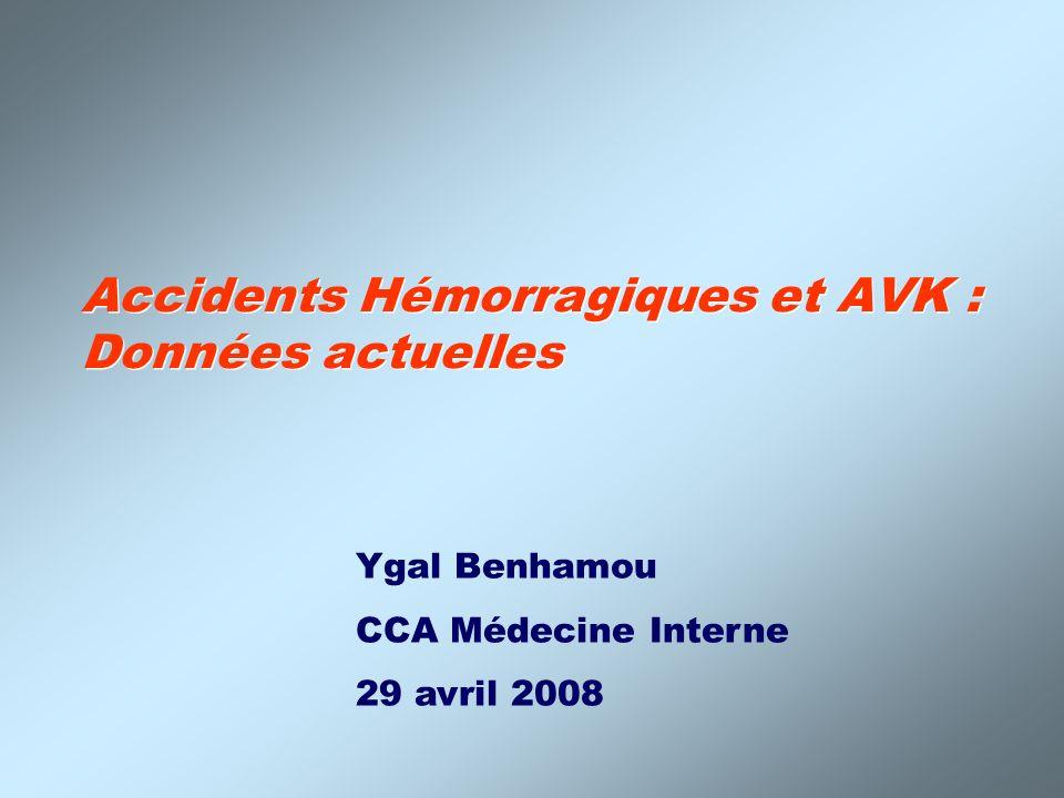Accidents Hémorragiques et AVK : Données actuelles