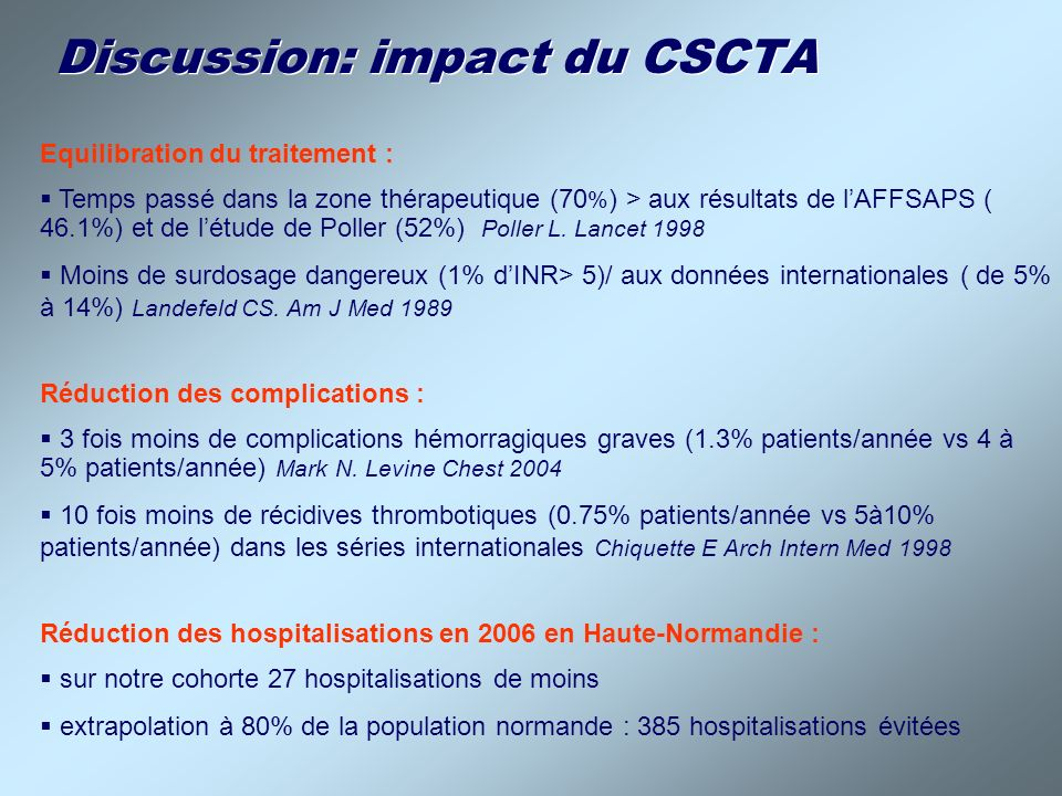 Discussion: impact du CSCTA
