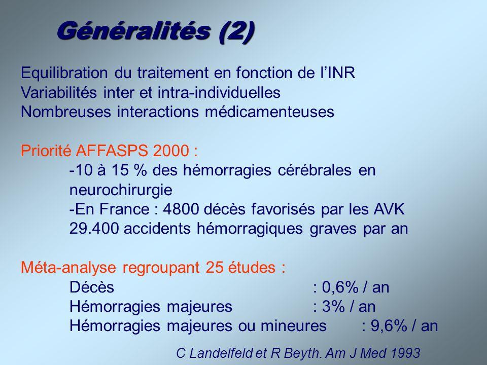 Généralités (2) Equilibration du traitement en fonction de l'INR