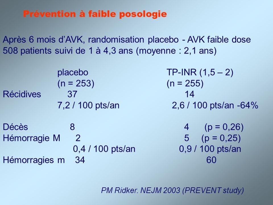 Prévention à faible posologie