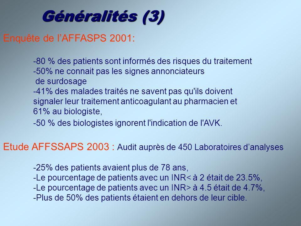 Généralités (3) Enquête de l'AFFASPS 2001: