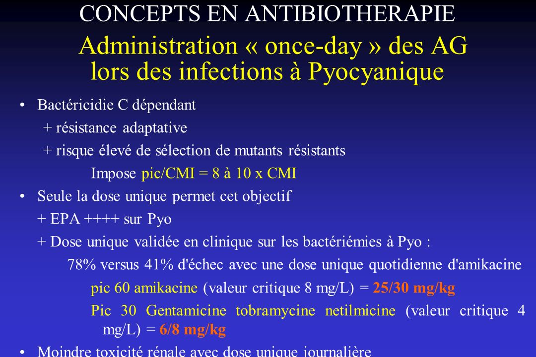 CONCEPTS EN ANTIBIOTHERAPIE Administration « once-day » des AG lors des infections à Pyocyanique
