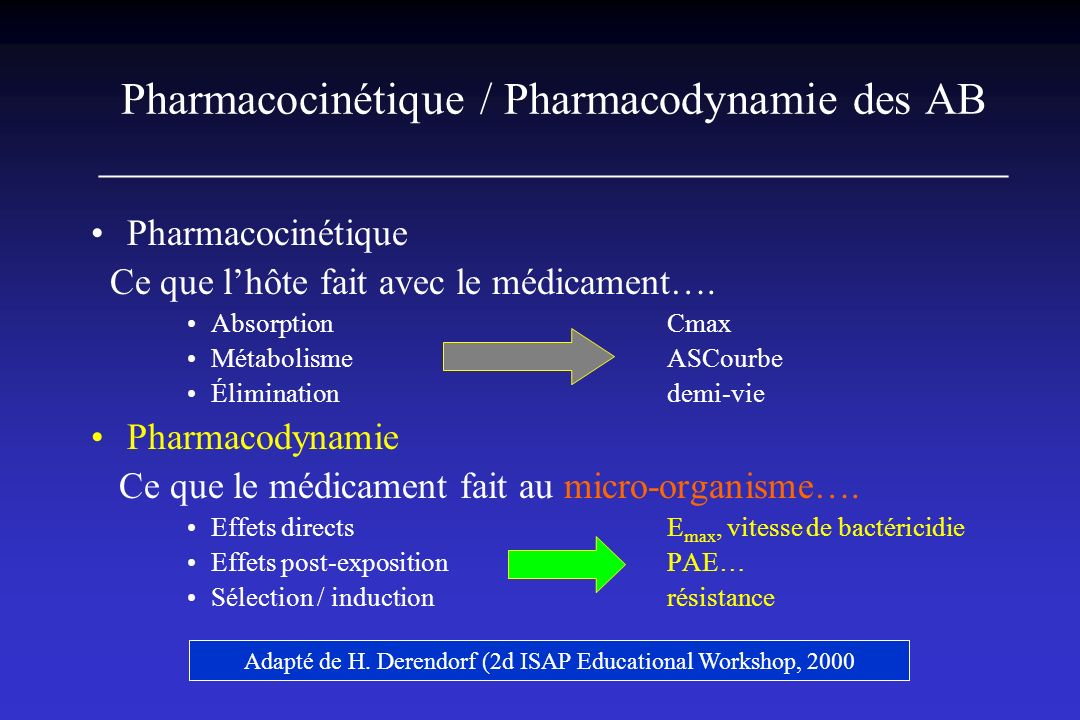 Adapté de H. Derendorf (2d ISAP Educational Workshop, 2000
