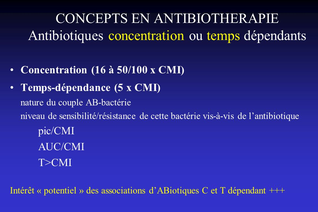 CONCEPTS EN ANTIBIOTHERAPIE Antibiotiques concentration ou temps dépendants