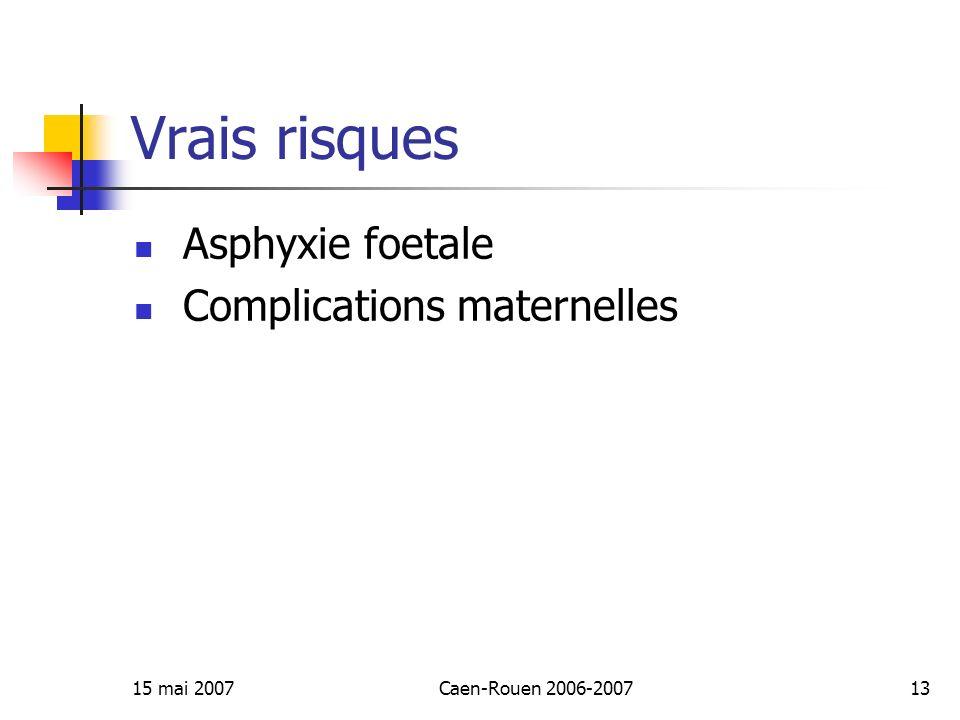 Vrais risques Asphyxie foetale Complications maternelles 15 mai 2007