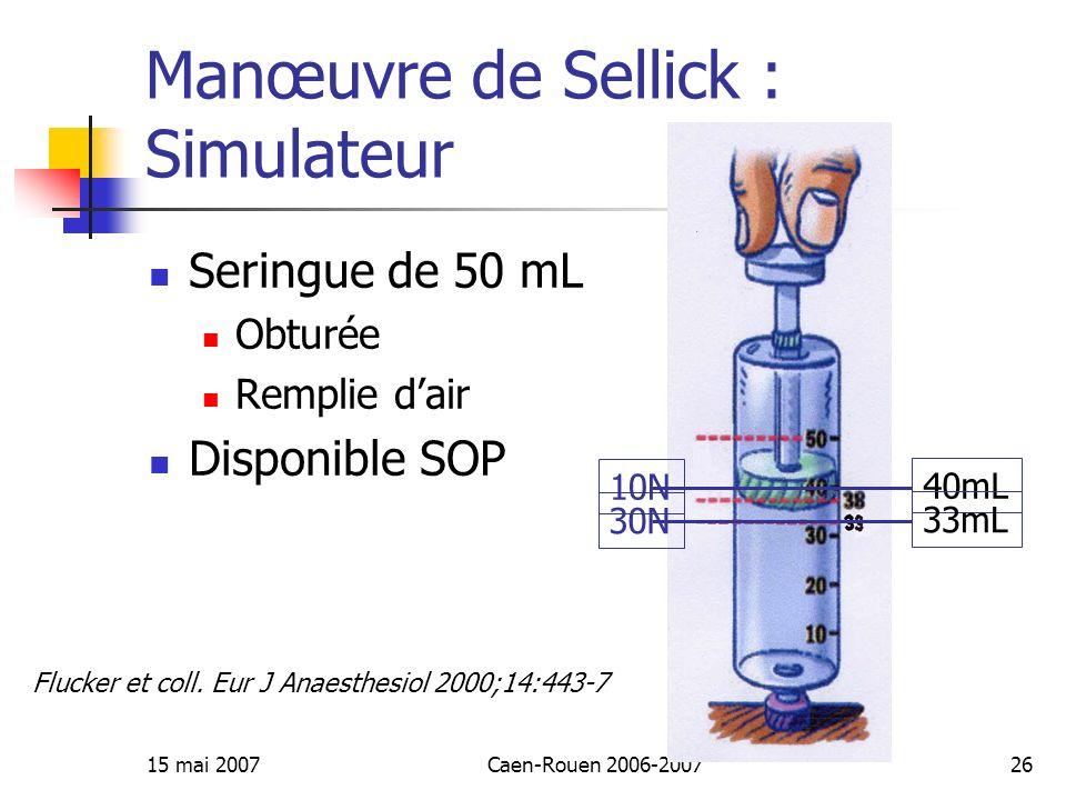 Manœuvre de Sellick : Simulateur