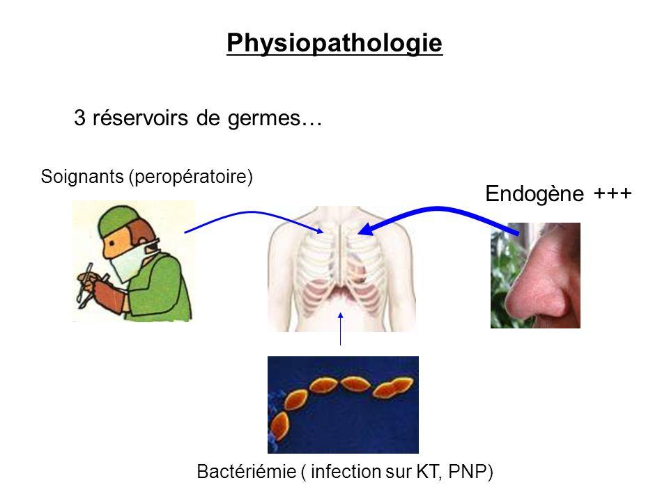 Physiopathologie 3 réservoirs de germes… Endogène +++