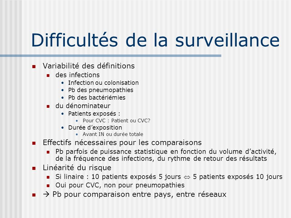 Difficultés de la surveillance