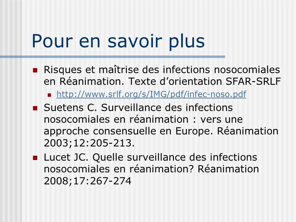Pour en savoir plusRisques et maîtrise des infections nosocomiales en Réanimation. Texte d'orientation SFAR-SRLF.