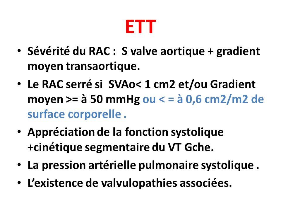 ETT Sévérité du RAC : S valve aortique + gradient moyen transaortique.
