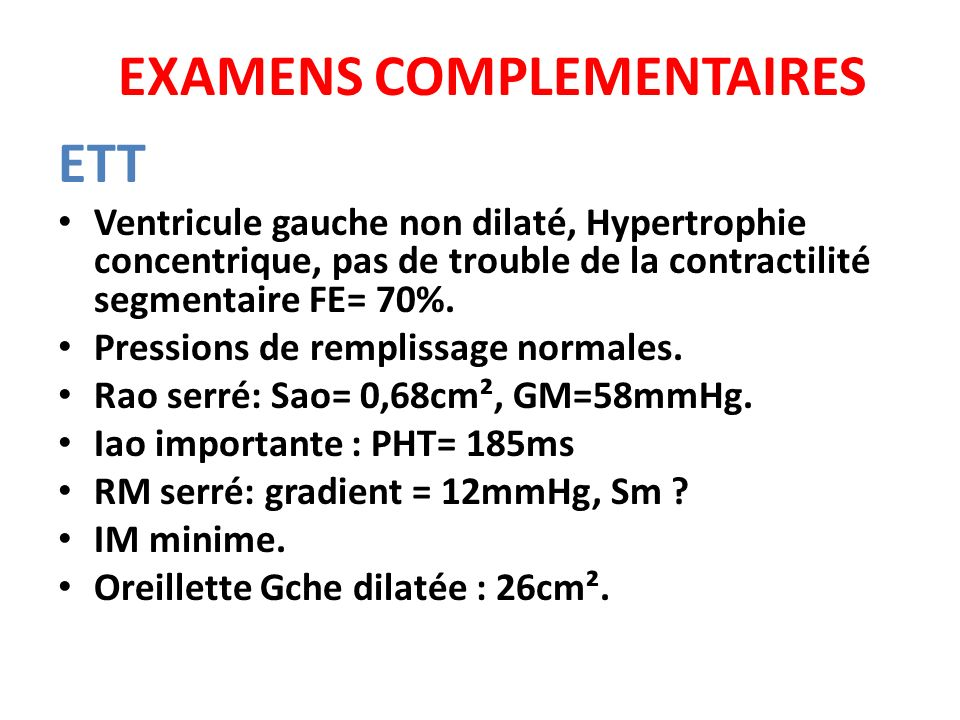 EXAMENS COMPLEMENTAIRES