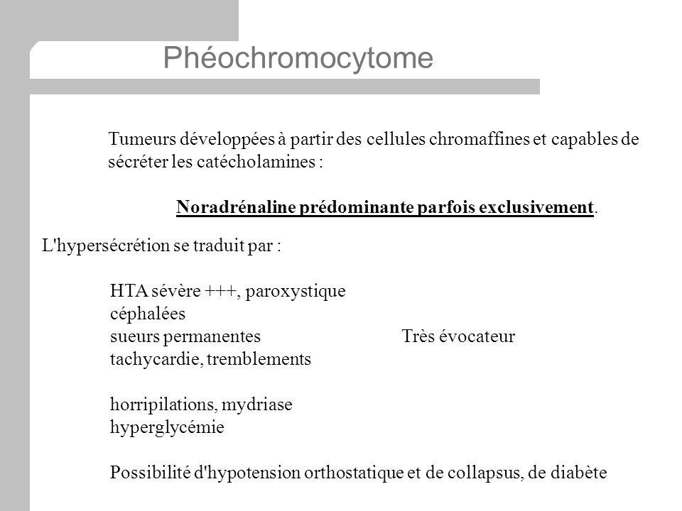 Phéochromocytome Tumeurs développées à partir des cellules chromaffines et capables de sécréter les catécholamines :