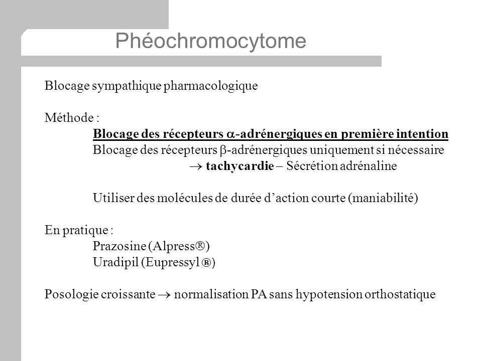 Phéochromocytome Blocage sympathique pharmacologique Méthode :