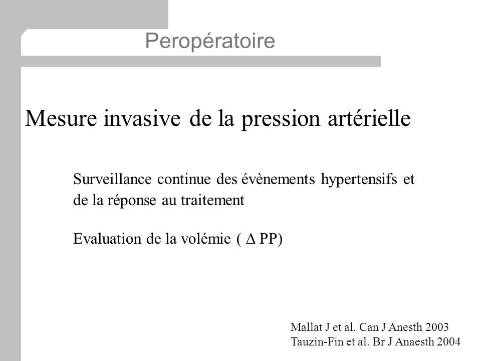 Mesure invasive de la pression artérielle