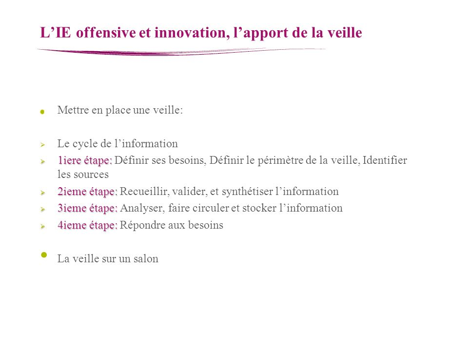 L'IE offensive et innovation, l'apport de la veille