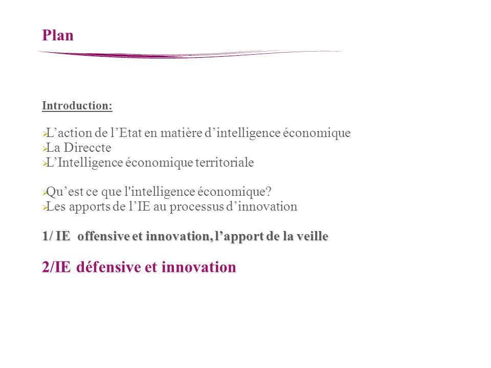 2/IE défensive et innovation