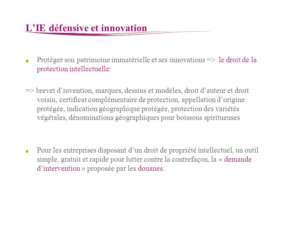 L'IE défensive et innovation
