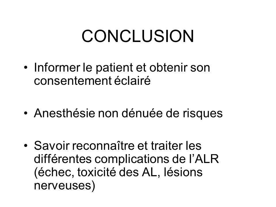 CONCLUSION Informer le patient et obtenir son consentement éclairé