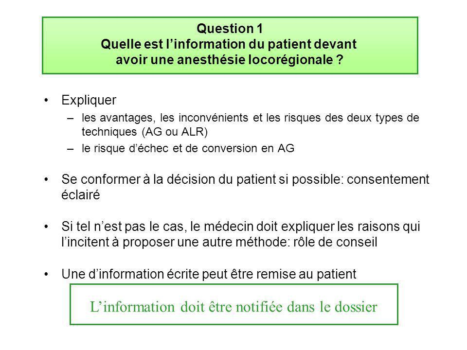 Question 1 Quelle est l'information du patient devant